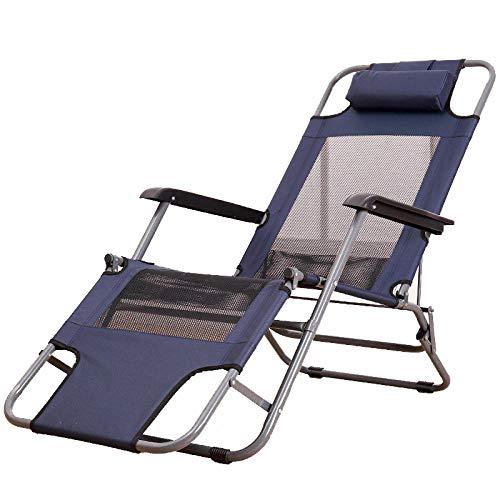 LLSTRIVE klappbar liegestuhl,Strandstühle im Freien, Sonnenliegen, Siesta-Betten, Strandliegen für zu Hause auf dem Balkon, atmungsaktiv, Erhöhen Sie die Menge [Navy Blue]