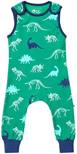 Piccalilly Kinder Jersey Latzhose Bio Jungs Grunen Dinosaurier Skelett Muster