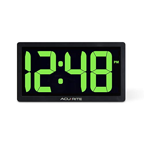 AcuRite 75112M 10-inch LED Digital Clock with Auto Dimming Brightness Green