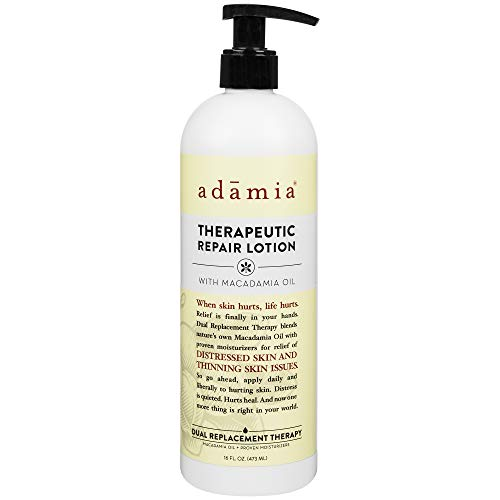Adamia Therapeutic Repair Lotion with Macadamia Nut Oil and Promega-7, 16 oz Bottle - Fragrance Free, Paraben Free, Non GMO