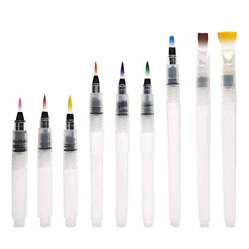 Watercolor Brush Pens Set - Super Easy to Use and Fill, Watercolor Pens Brush Set of 9 Piece for Water Soluble Colored Pencil, Aqua Brush Pen for Beginners, Gift Ideas