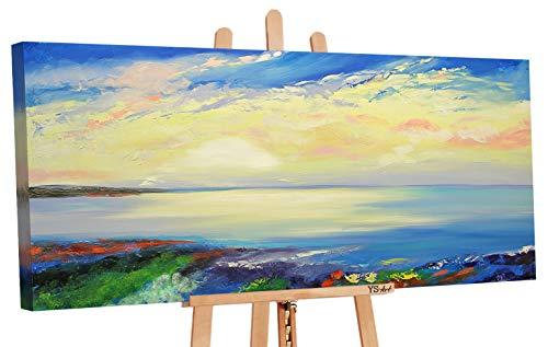 YS-Art | Dipinti a Mano Colori Acrilici Bellissima Mattina | Quadro Dipinto a Mano | 115x50cm | Pittura | Dipinti Modern | Quadri Dipinti a Mano | Azzurro