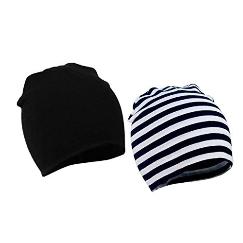 LVE - Berretto unisex per bebè, 2 pezzi, morbido, a doppio strato, età: 1-3 anni black-stripe Etichettalia unica