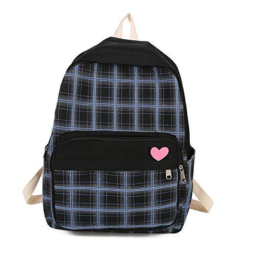 Zaino per Adolescenti Moda Tempo Libero per Ragazze Borsa da Scuola Casual Plaid Stampa Daypack,Black