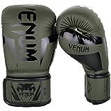 Venum Guantes de Boxeo Elite Caqui Negro Muay Thai Kick Boxing MMA Combate Entrenamiento - Caqui, Negro, 14oz