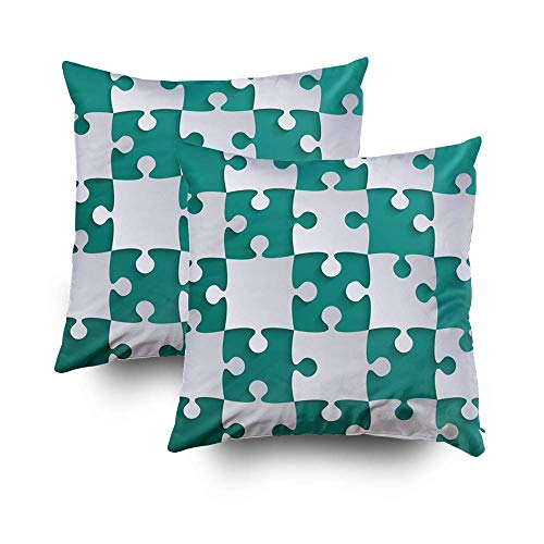 N / A Throw Pillows Cover, Throw Square Decorative Pillow Cover,Cushion Covers Grey Puzzle Pieces in a Teal S Both Sides Printing Invisible Zipper Home Sofa Decor Sets 2 PCS Pillowcase