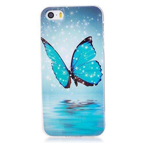 ISAKEN Compatibile con iPhone 5 5S SE Custodia, Agganciabile Luminosa Cover Case con Lampeggiante Ultra Sottile Morbido TPU Cover Rigida Gel Silicone Protettivo Custodia - Glitter Farfalle