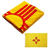 WINBEE US New Mexico Flag 3x5 Ft with Double Sided Embroidered Stars, Long Lasting Nylon, Sewn Stripes and Brass Grommets, UV Protected, 3 by 5 USA Flag and American New Mexico State Flags
