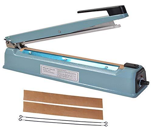 VOTOER 16 inch Manual Impulse Bag Hand Heat Sealer Machine, Bag Sealer Heat Sealing Closer Tool Poly Tubing Plastic Bag, 2 Free Replacement Kit