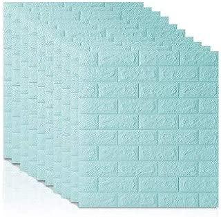TJX75K 7077 3D Brick Wall Stickers DIY Self Adhensive Decor Foam Waterproof Wall Covering Wallpaper for TV Background Kids Living Room-Light blue-1pcs70 X 7.5X 0.55cm