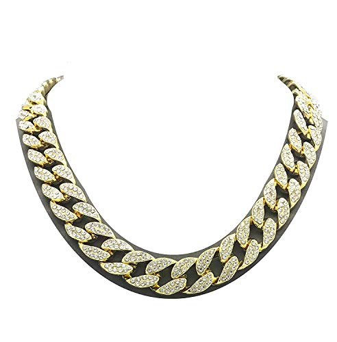 Men's Iced Out Hip-Hop Gold Tone Bling Bling Rappers Cuban Link Chain Choker Necklace (Gold, 24)