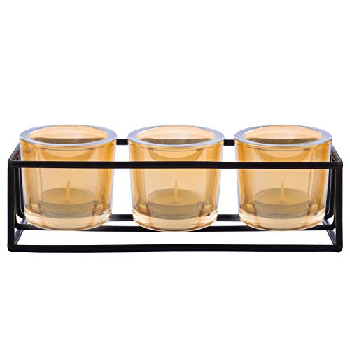 RED SECRET R Golden Glass Votive Candle Holders Home 3 Round Decorative Tealight Candle Stands in 1 Set Wedding Table Centerpiece Home Decor for Dining Room Thanksgiving Table Decor