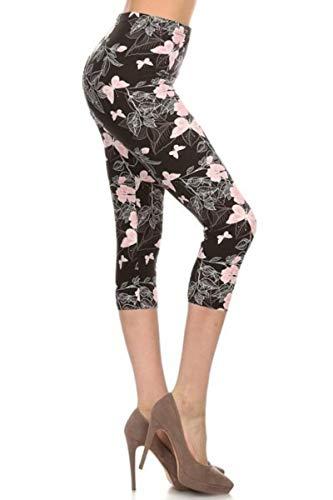R560-CA-PLUS Pink Butterflies Capri Print Leggings