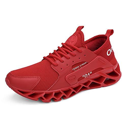 Herren Fitness Laufsportschuhe Joggingschuhe Wanderschuhe atmungsaktive rutschfeste Mode Freizeitschuhe(Rot.jwj,44 EU)