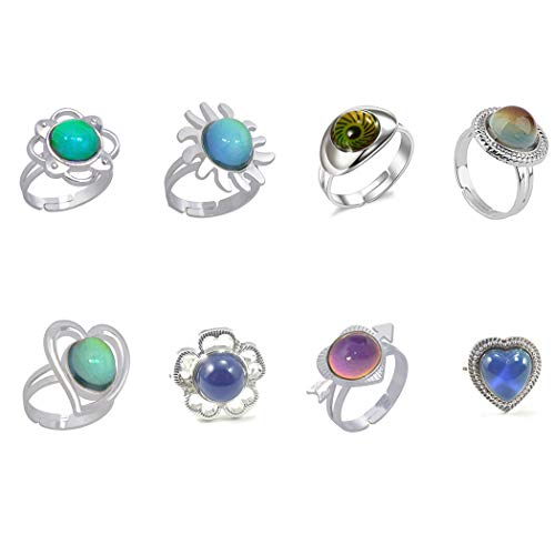 Bangcool Kid's Adjustable Colour Changing Mood Ring for Halloween (Multicolour) -8 Pieces