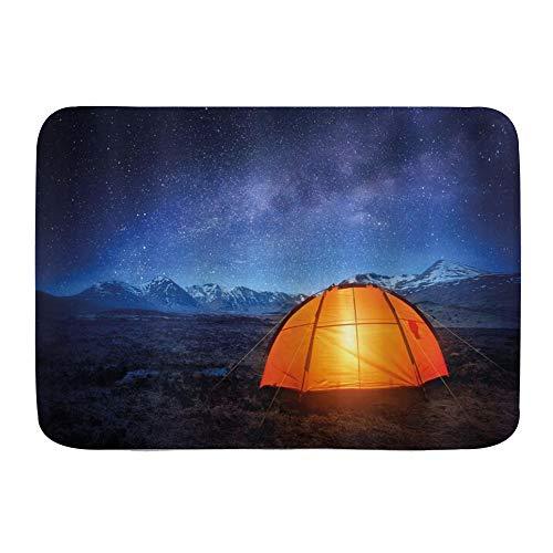 Opehodecor Microfiber Bath Mat Rug,Camper A Tent Glows under Night Sky Full of Stars Exploring Universe Life Picture,Bathroom Rugs Carpet Non Slip,29.5' X 17.5'