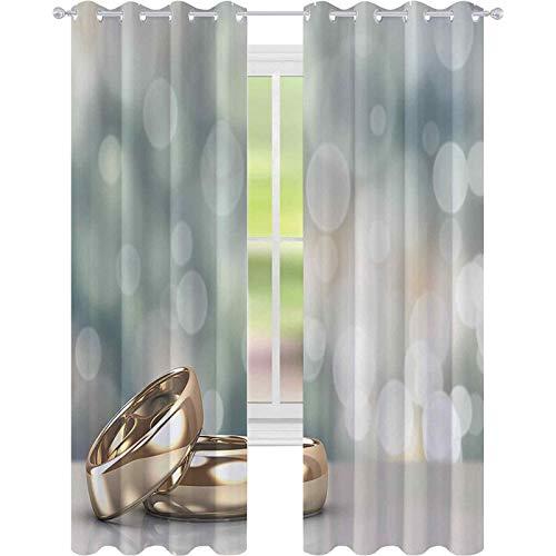 Cortinas opacas para dormitorio, dos anillos de compromiso de boda sobre fondo abstracto Bokeh, cortina opaca de 52 x 84 para sala de estar, oro, verde pálido y azul