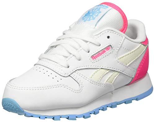 Reebok Unisex Baby Classic Leather Gymnastics Shoe, White/Neon Blue/Solar Pink, 22.5 EU