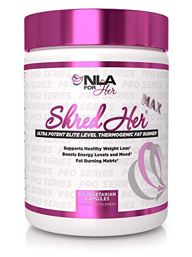 NLA for Her -Shred Her Max Thermogenic Fat Burner for Women - Raspberry Ketones, Caffeine, CLA, Konjac Root, Green Tea Extract, l-Carnitine - 30 Servings