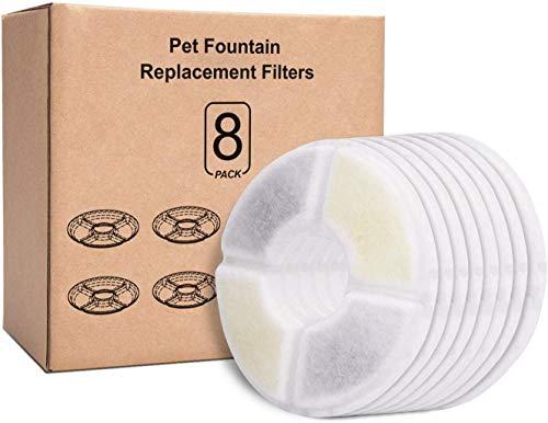 Rhodesy Ersatzfilter für Trinkbrunnen für Katzen und Hunde, Blumentrinkbrunnen Ersatzfilter mit Harz und Aktivkohle für Automatischen Blumenwasserspender Wasserbrunnen Trinkbrunnen Filter (8 Pack)