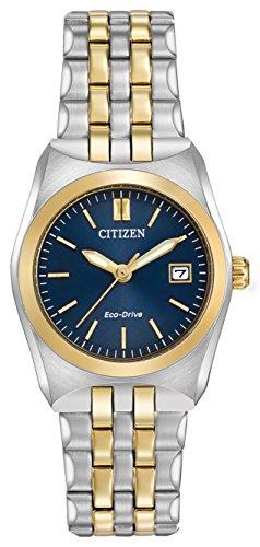 Citizen Corso Damen Quarzuhr mit Blau Zifferblatt Analog-Anzeige und Silber Edelstahl vergoldet Armband ew2294–53L