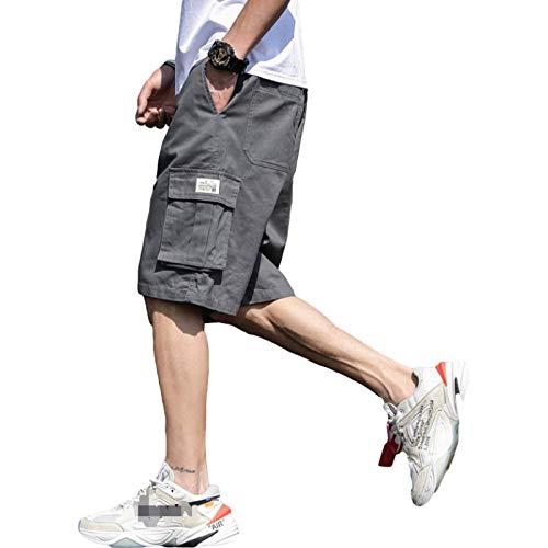 Jubaton Herren Sommer Plus Size Shorts, Klassische elastische Taille Kordelzug Street Trend Casual Sport Overalls, mit Mehreren Taschen XL