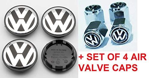 RPOEnterprise Volkswagen Wheel Center Hub Caps + Set of 4 Air Valve Covers Wheel Center Cap Hub Cover for VW Volkswagen Golf GTI Passat Jetta