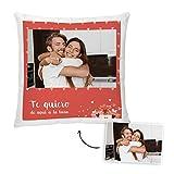 Fotoprix Cojín para Parejas Personalizado con Foto y Texto | Regalo Día de los Enamorados | San Valentín (Corazón, 45 x 45 cms)