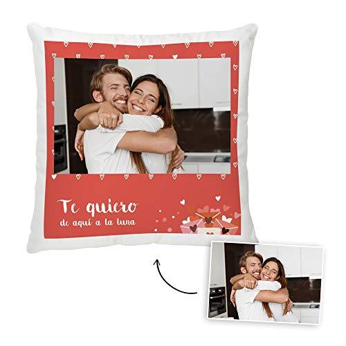 Fotoprix Cojín para Parejas Personalizado con Foto y Texto | Regalo Día de los Enamorados | San Valentín (Corazón, 35 x 35 cms)