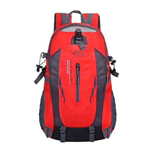 LEEDY Wanderrucksack Wasserdichter Trekkingrucksack Sportrucksack Fahrradrucksack Outdoorrucksack Daypack für Sport Reise Camping Klettern Radfahren Reiten für Herren Damen (Red)