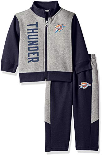 NBA by Outerstuff NBA Infant Oklahoma City Thunder On The Line Jacket & Pants Fleece Set, Dark Navy, 24 Months