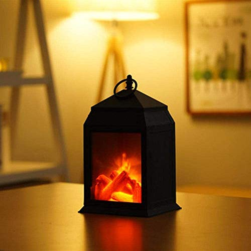 Creative Fireplace Lights, LED Flame Lights Wall Lights, Decorative Lights Crafts Ornaments for Halloween and Christmas Interior Decoration,Black,C