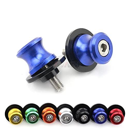 Bobinas deslizantes de brazo oscilante para Suzuki SV650 GSR 400/600/750 GSX650F GSX1250FA GSF 1200/1250 Bandit motocicleta soporte trasero Bobinas tornillo 8mm (azul)