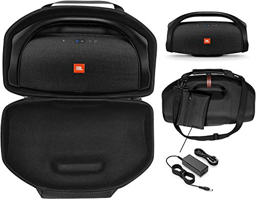 CaseSack Boombox Case for JBL Boombox, Boombox 2 Waterproof Portable Bluetooth Speaker, Tailor Made semi- Hard case, Featured Handle and Shoulder Strap, Detachable Charger Pouch