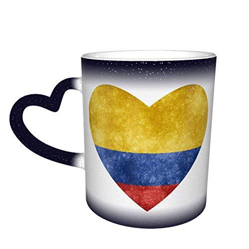 Hdadwy Bandera de corazón de Colombia que cambia de color Taza de cielo estrellado Taza mágica de café en forma de corazón