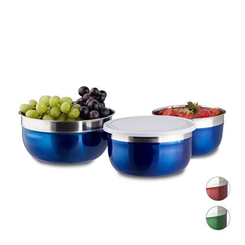 Relaxdays Schüssel Set mit Deckel, 3-teilig, unterschiedlich groß, Edelstahl, Küchenschüsseln, Vorrat, Camping, blau