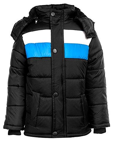 24brands Kinder Jungen Mädchen Jacke Winterjacke Steppjacke warm gefüttert mit Kapuze Streifen - 3101, Größe:116-122;Farbe:Schwarz