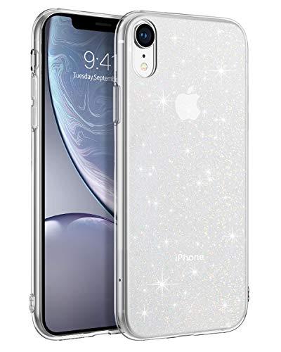 BENTOBEN iPhone XR Hülle Handyhülle Glitzer Transparent Anti Gelb Stoßfest Klar iPhone XR Case Silikon Bumper Cover Ultra Slim dünn Hülle für iPhone XR Crystal Clear