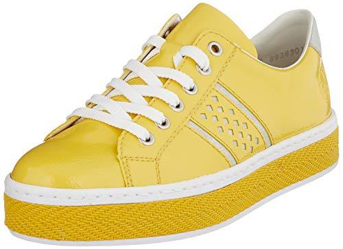 Rieker Damen Frühjahr/Sommer L8914 Slip On Sneaker, Gelb (Sonne/Fog-Silver/ 68 68), 37 EU