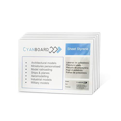 Cyanboard, Polystyrol-Platten, starr, PS-Größe: A5 (210 mm x 148 mm), für Modellbau und Modellbau (2 mm x 6 Stück)