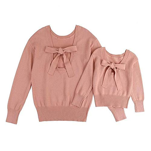 Mother and Daughter Matching Clothes Fall Long Sleeve Knitted Sweater Pink Warm Family Outfit (Pink, 3-4 Years)