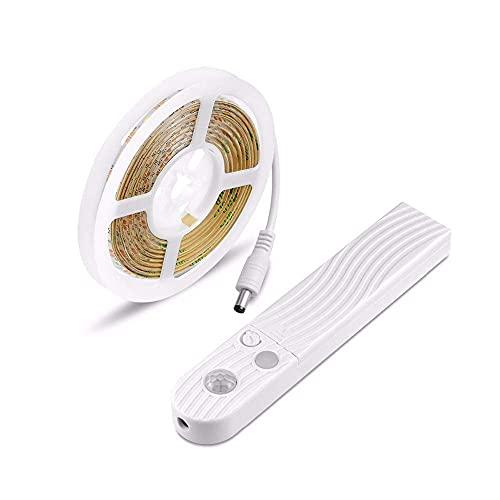 Waqihreu Luz de gabinete LED Lámparas de Tira de inducción del Cuerpo Humano Tira de luz Suave Luces de Noche de Noche, Luces de escaleras, luz de Cama activada por Movimiento, 2 Metros, luz cálida