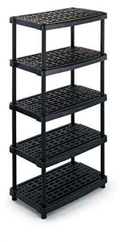 TERRY TS1000518 Estantería de plástico extra profunda con 5 niveles ventilados, 93 x 59 x 188.5 cm, Negro