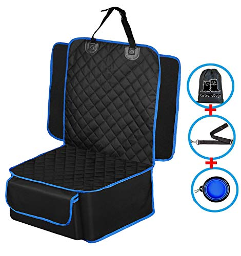 Flow.month Pet Bucket Seat Cover, Seat Cover Waterproof Pet Front Seat Cover Dog Seat Protector-Universal Design for All Cars, SUVs & Trucks with Safety Belt, Dog Pow(Black) …