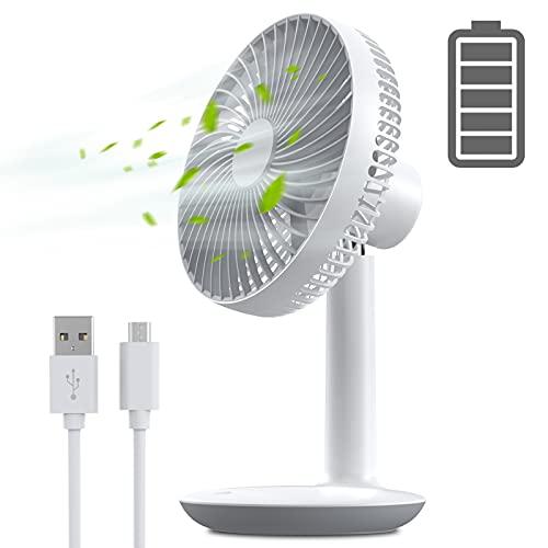 Pequeño Ventilador de Mesa USB Recargable de 16 x 26 cm, Portatil Mini de Pie Ventilador Sobremesa Silencioso con 4 niveles de Velocidad, Movil Bajo Consumo Ventilador Escritorio para Oficina Hogar