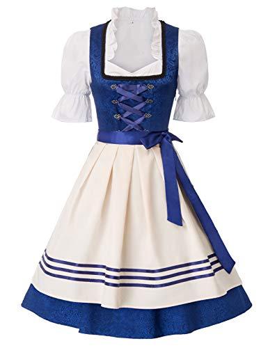 JASAMBAC Disfraz de Oktoberfest para mujer, 3 piezas, vestido de Dirndl de cerveza alemana bávara, azul rey (Royal Blue-1), S