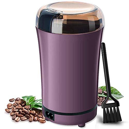 Huaguo - Molinillo de café eléctrico con hoja de acero inoxidable para café, especias, nueces y hierbas, cable de alimentación desmontable y cepillo pequeño incluido (morado)