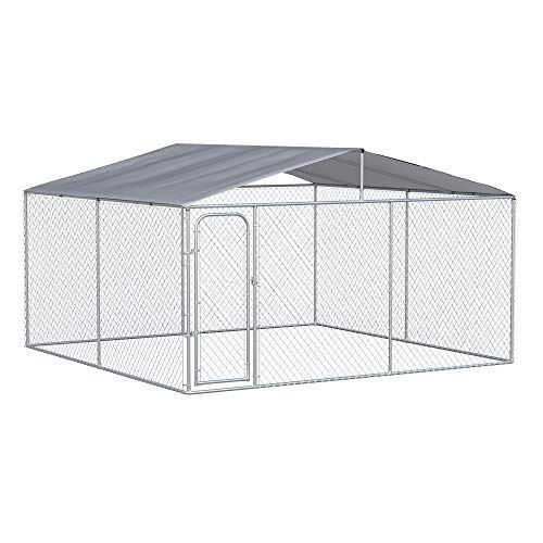 PawHut Dog Kennel Heavy Duty Playpen with Galvanized Steel Secure Lock Mesh Sidewalls and Waterproof Cover for Backyard & Patio, 13' x 13' x 7.5'