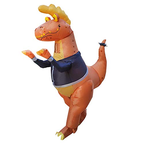 HORYEE Inflatable Dinosaur Costume Adult Men Women Inflatable T-Rex Costume Brown
