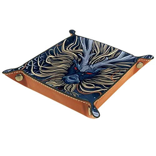 Caja de almacenamiento pequeña, bandeja de valet para hombre,Dragón azul chino tradicional,Organizador de cuero para llaves de caja de monedas